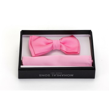 MLS Pink Plain Bow Tie and Pocket Square Set