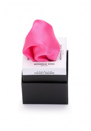 MLS Pink Satin Plain Pocket Square