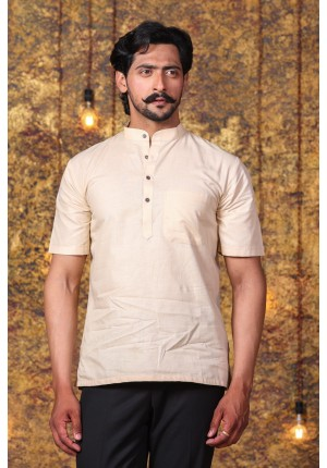 MLS Fawn Cotton Modi Kurta