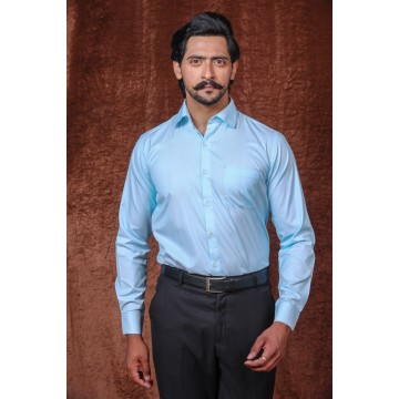 MLS Sky Blue Cotton Formal Shirt