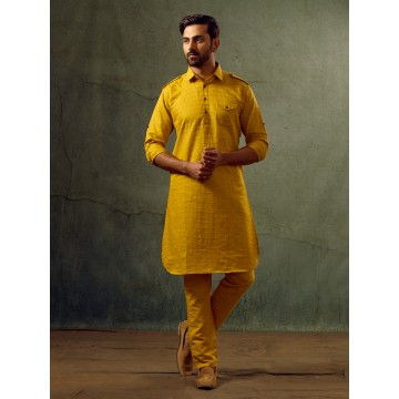 MLS Mustard Pathani Suit