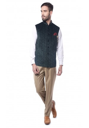 MLS Green Nehru Jacket