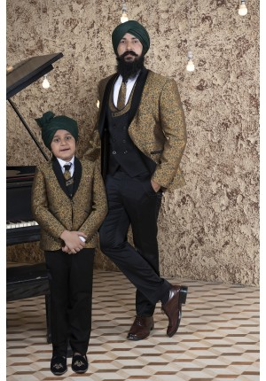 MLS Mustard Matching Tuxedo for Father and Son