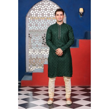 MLS GREEN KURTA PYJAMA