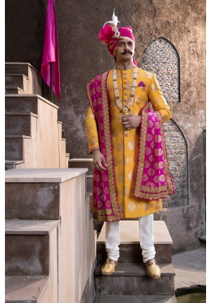 MLS Yellow  Sherwani
