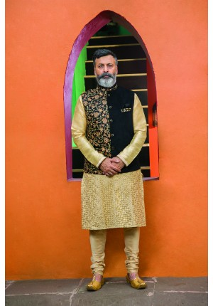 MLS Designer Gold Kurta Set