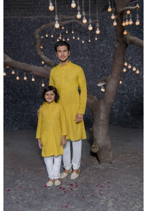 Yellow Matching Kurta And Pyjama Set for Father and Son