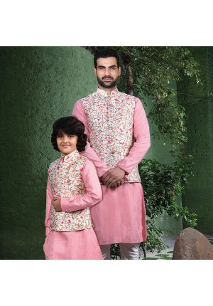 MLS Pink Matching Nehru Jacket Father and Son