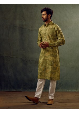 MLS Green Printed Pathani Suit