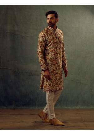 MLS Cream Printed  Kurta Pajama