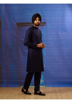 MLS Navy Blue Kurta Pajama