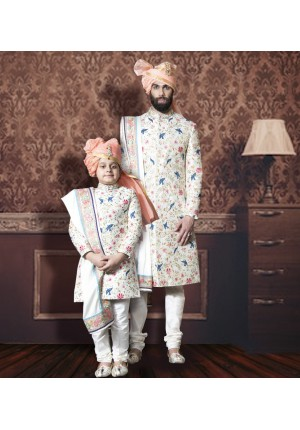 MLS Cream Matching Sherwani for Father and Son
