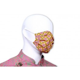 MLS Yellow Printed Cotton 10pcs Face Mask