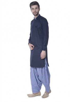 MLS Navy Blue Pathani suit