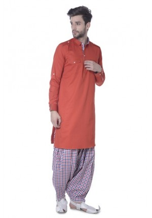 MLS Orange Pathani Kurta