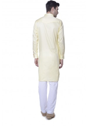 MLS Light Yellow  Pathani Kurta