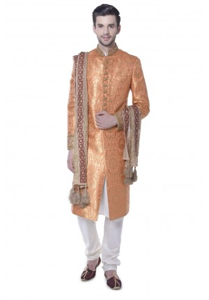 MLS Orange Brocade Sherwani