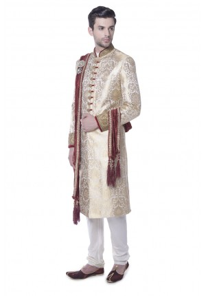MLS Cream Brocade sherwani