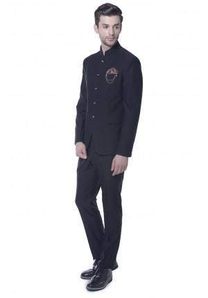 MLS Black Jodhpuri Suit