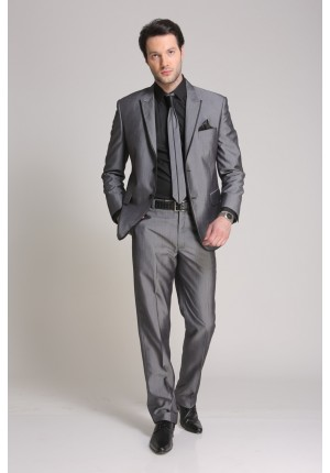 MLS Bold Grey Textured Slim Fit Suit