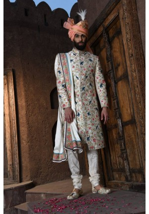 MLS Cream Sherwani
