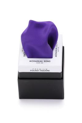 MLS Violet Satin Plain Pocket Square