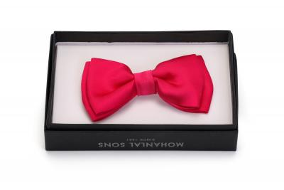 MLS Bright Pink Plain Bow Tie